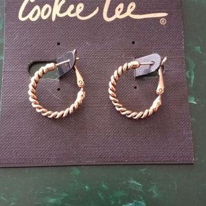 Cookie Lee Clutchless Hoop Earrings